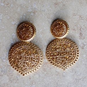 Kenneth Jay Lane Clip Earrings: Gold, Coin Drop